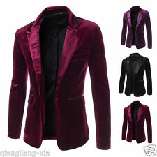 2017 New Fashion Men Slim Fit Blazer One Button Velvet Suit Jackets Coat + gift