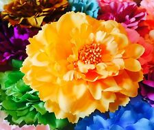 USA Hair Fashion Fabric Flower Clip Brooch Rose Peony Lady Yellow NO.2 shoes