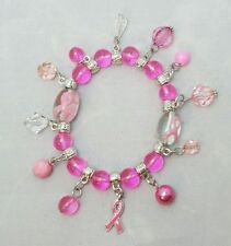 Ribbon Charm Bracelet Pink Bead Silver Stretch Breast Cancer Awareness Gift
