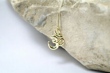 Solid 14K Gold Om Necklace, Yoga Necklace, Aum Ohm Charm Om Pendant Yoga Jewelry