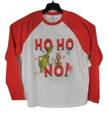 New Universal Studios Mens XL The Grinch Ho Ho No Long Sleeve Christmas T-Shirt