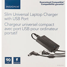 Insignia 90W Slim Laptop Charger 90W with USB Port (NS-PWLC795) - Black