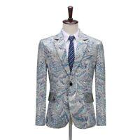 Mens Slim Blazer Coat Tuxedo Jacquard Peacock Lapel Collar Jacket One Button K14