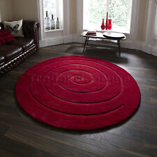 Think Rugs Spiral 100 Wool Hand Carved Round Rug Red 140 Cm Diameter