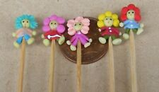 1:12 Scale 5 Hand Made Polymer Bad Hair Days On A Stick Tumdee Dolls House