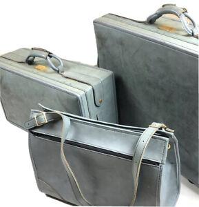 Hartmann Vintage 60s Belting Blue Leather 3 PC Luggage Set RARE Suitcase Travel