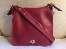 COACH Vintage Legacy Companion Red Leather Crossbody Handbag USA 9715, EUC