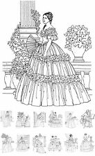 """Adult Coloring Cards Book (24 pages 6""""x8"""") Vintage Fashion Victorian FLONZ 040"""