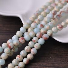30pcs 8mm Round Natural Stone Loose Gemstone Beads Pale Blue Imperial Jasper