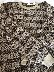 Mens Clairborne Beige Patten Crew Neck Wool Sweater size Extra Large Global