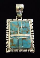 Native American Navajo Sterling #8 Mine Turquoise Pendant Signed F.A.T. with/COA
