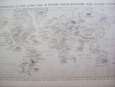 Map of World Prehistoric Animal Remains 1920's 1 Page Encyclopedia to Frame?