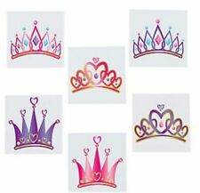12 Princess Tiara TATTOOS Party Favors Supplies for Birthday Treat Goody Bags
