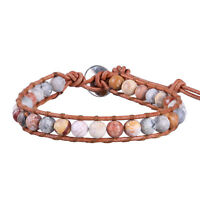 KELITCH Single Wrap Bracelet Handmade Chain Stone Beaded Cuff Genuine Leather