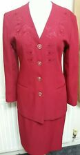 Vintage MISS CORAL Red Embroidered Skirt Suit Size UK 12 EUR 38 Made in England