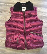 Harley Davidson Women's Size S Purple Quilted Vest Pockets Zipper Front
