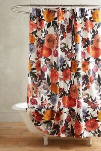 Anthropologie Agneta Shower Curtain Fall Colors Floral