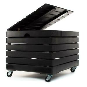 At Home On Main Handmade Wood File Cabinet Storage Box with Wheels- Black