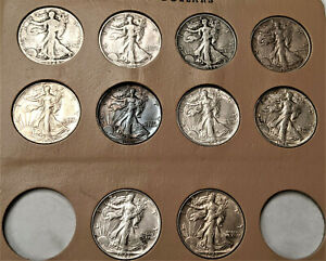 Lot (10)  Walking Liberty HALF ROLL - NICE AU ABOUT UNC   👀 *** 28-S- 29-S ETC