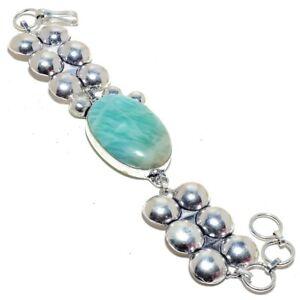 "Amazonite Gemstone  925 Sterling Silver Bracelet 7-8"""