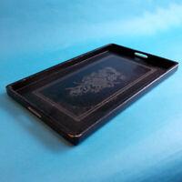 "Vtg Wood Serving Tray Black Lacquer Floral Design 17x10.5"" 1940s Japanese Obon?"