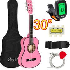 "Kids Pink 30"" Classical Acoustic Guitar Set for Beginners Bag Picks Tuner Strap"