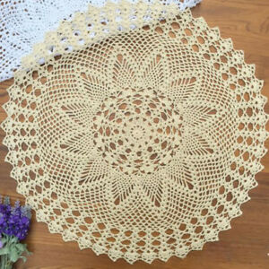 "Vintage Hand Crochet Tablecloth Round Lace Table Cloth Topper 23"" Star Pattern"