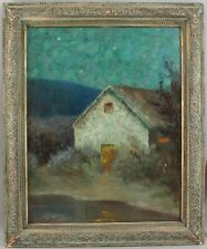 Large WARD MOUNT Impressionist Moonlight Noctural Cottage Home Oil Painting NR