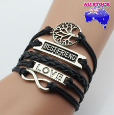 Vintage Best Friend Tree Of Life Infinite Love Letter Black Leather Weave Bracel