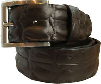 MENS BROWN FULL GRAIN ITALIAN HIDE LEATHER BELT CROCODILE 40MM S M L XL XXL