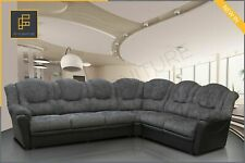 TEXAS - CORNER SOFA - BLACK AND GREY - FABRIC & FAUX LEATHER - 295 cm x 235 cm