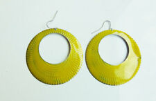 Retro Vintage Yellow Green Mustard Cut Out Circle Weave Pattern  Hoop Earrings