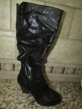 NEW WHITE MOUNTAIN CLIFFS PALAZZO BLACK BOOTS WOMENS 6.5 TALL KNEE HIGH SLOUCHY