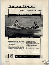 1955 PAPER AD Aqualine Aluminum Boats Elkton Maryland Outboard Fishing