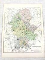 1889 Antique Map of Staffordshire Lichfield Leek Burton Dudley 19th Century
