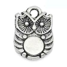 Owl Charm/Pendant Tibetan Antique Silver 14mm  10 Charms Accessory DIY Jewellery
