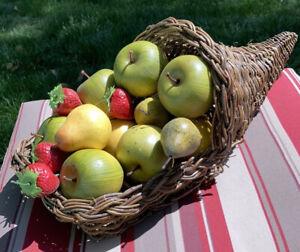 "LARGE CORNUCOPIA Fruit Flower BASKET 18"" x 7.5"""