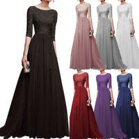 Women Chiffon Long Sleeve Evening Gown Prom Party Wedding Bridesmaid Dress Gift