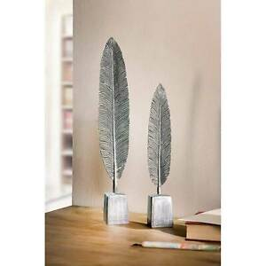 Deko Federn 2 x Feder silber Deko Skulptur Tischdeko Kunstobjekt Dekoskulptur