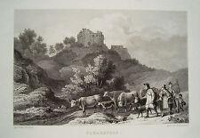 Burg Scharzfels Scharzfeld  Harz  Ludwig Richter echter alter Stahlstich 1844
