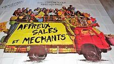 AFFREUX SALES ET MECHANTS ! ettore scola rare affiche 4x3 8 panneaux 1976