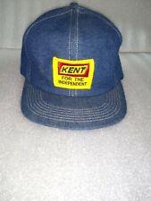 Vintage Trucker KENT Denim Snapback Hat Cap  Feed Grain Seeds Farmer
