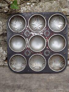 Vintage c1950's  Baking Bun Cake Tin - Makes 9 - Shell/Leaf/Plain Motiffs