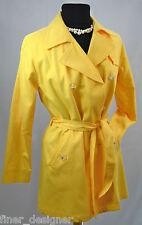 NEW OSCAR BY OSCAR de la RENTA Mustard Tailored Rain Coat lined Jacket Coat 8P