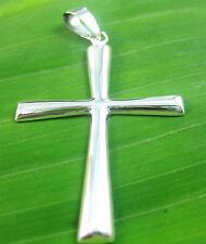 100% Real 925 Sterling Silver Plain Big Long Cross Pendant unisex women men boy