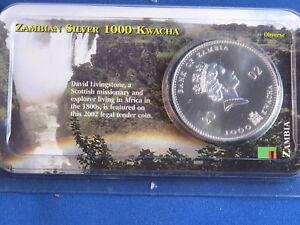 2002 Bank Of Zambia 1000 Kwacha BU Silver 1 Ounce B4685