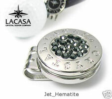 NEW CRYSTAL GOLF BALL MARKER + HAT CLIP (Jet_Hematite)