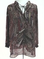 CHAPS Peasant Blouse Paisley Brown Red Blue Tie Neck 3/4 Sleeve Women's XL $65
