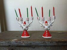 Vintage Japan Reindeer Noel Candle Holder Christmas Dickson ? Relco? Ceramic MCM