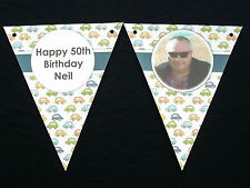 PAPER BUNTING - HAND CRAFTED - PERSONALISED - WITH PHOTO - FOR BOYS BIRTHDAY